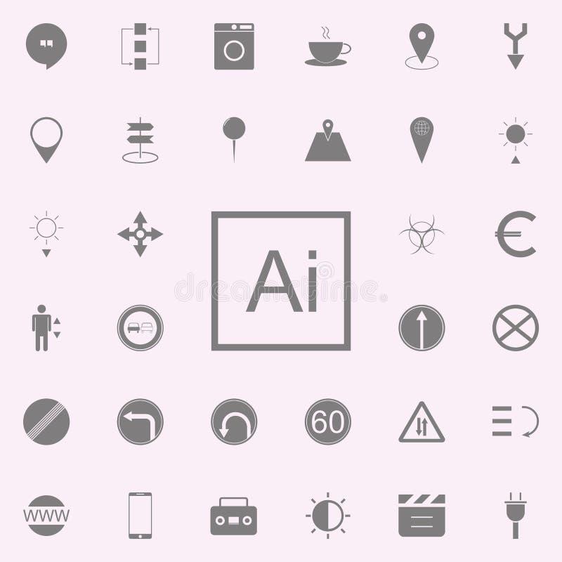 AI het pictogram van het Brieventeken voor Web wordt geplaatst dat en het mobiele algemene begrip van Webpictogrammen vector illustratie