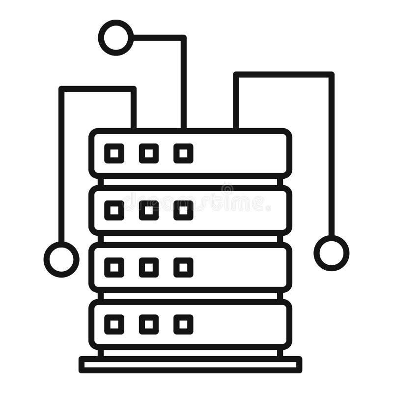 Ai het pictogram van het serverrek, overzichtsstijl royalty-vrije illustratie