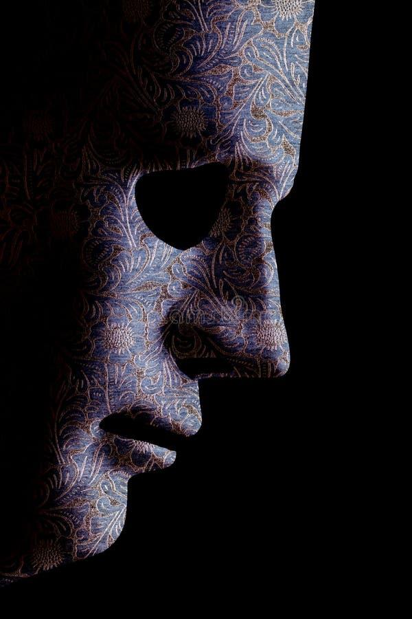 AI het robotachtige dichte omhooggaande materiële patroon van het gezichtsprofiel stock afbeelding