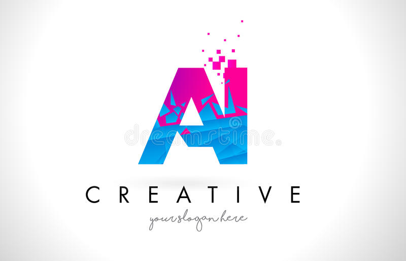AI A I Letter Logo with Shattered Broken Blue Pink Texture Design Vector. royalty free illustration