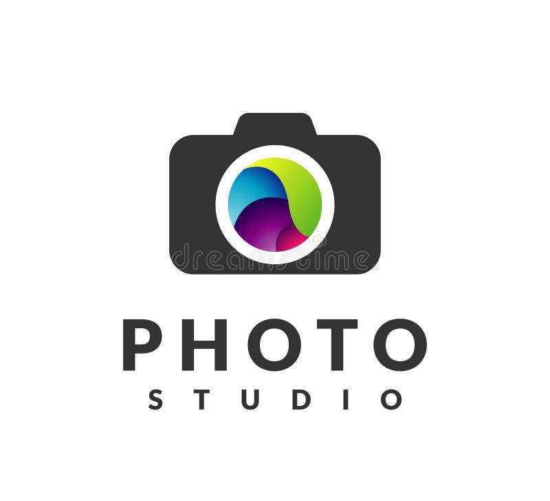 Ai-Illustrator-Vektor-Grafik befestigt Fotoikone Fotografie-Zeichen Fotografielogo Kameraikone, Fotografstudiologo Fotostudiologo lizenzfreie stockbilder