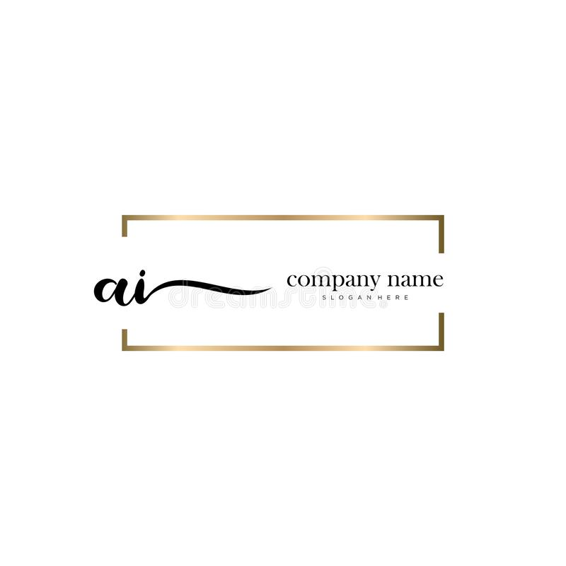AI initial handwriting logo template vector. stock photo