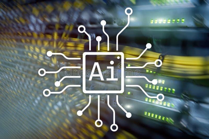 AI, inteligência artificial, automatização e conceito moderno da tecnologia da informação na tela virtual ilustração do vetor
