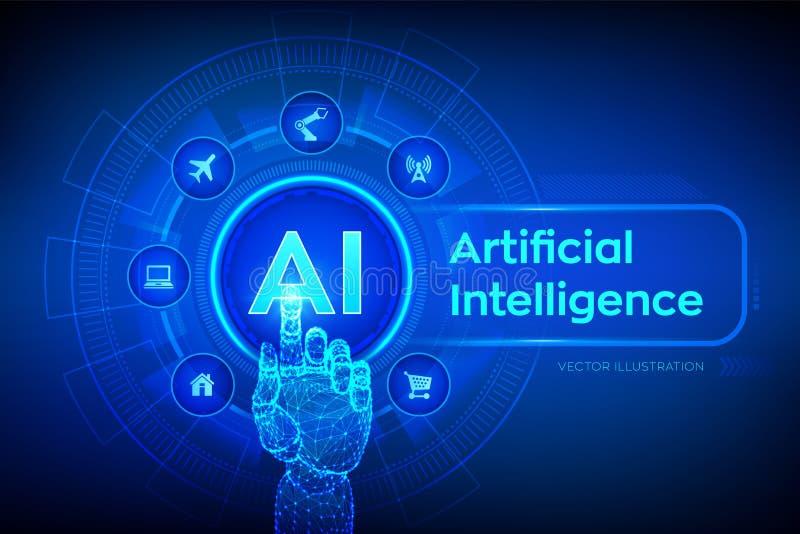 ai Intelig?ncia artificial Aprendizagem de máquina, tecnologia grande da análise de dados e da automatização no negócio e industr ilustração stock