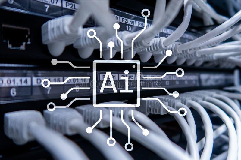 AI, inteligencia artificial, automatización y concepto moderno de la tecnología de la información en la pantalla virtual imagen de archivo