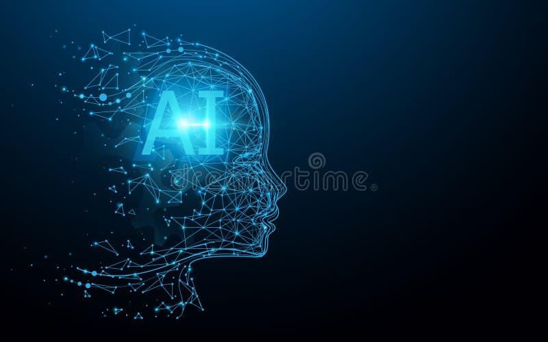 AI - inteligencia artificial Cerebro digital del Ai Concepto de la rob?tica Rostro humano hecho de polígono vector del ejemplo stock de ilustración