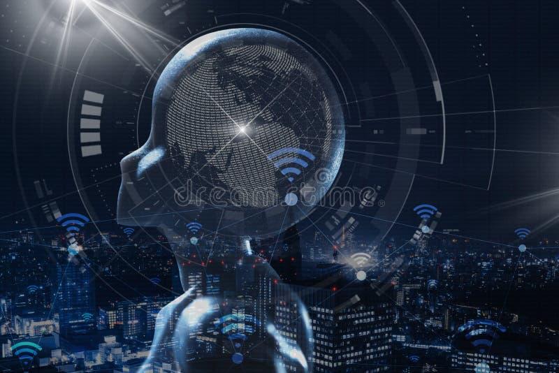 AI, inteligencia artificial conceptual de techno de la siguiente generaci?n imagenes de archivo