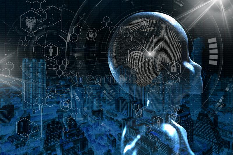 AI, inteligencia artificial conceptual de techno de la siguiente generaci?n foto de archivo libre de regalías