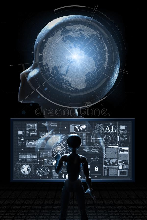 AI, inteligencia artificial conceptual de techno de la siguiente generaci?n imagen de archivo