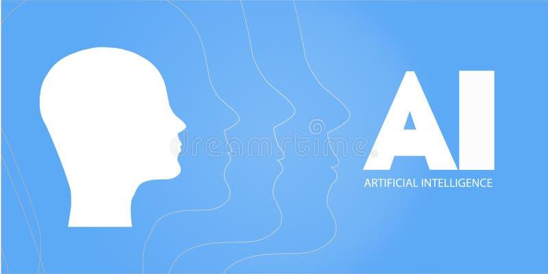 AI, inteligencia artificial, profundamente aprendizaje y diseño de concepto futuro de la tecnología - ejemplo del vector AI - Int ilustración del vector
