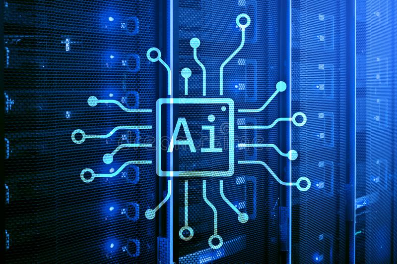 AI, intelligence artificielle, automation et concept moderne de technologie de l'information sur l'écran virtuel photographie stock