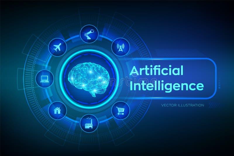 AI Intelligence artificielle cerveau Cerveau de Digital concept de la science et technologie 3D Grande technologie d'analyse et d illustration libre de droits