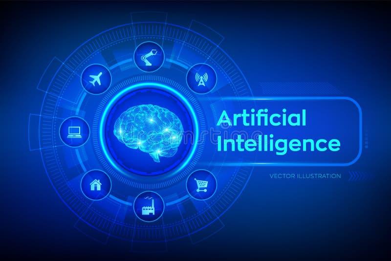 AI Intelligence artificielle cerveau Cerveau de Digital concept de la science et technologie 3D Grandes analyse et automation de  illustration stock