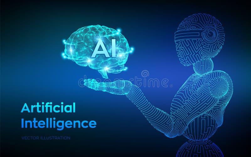 AI Intelligence artificielle AI sous forme de cyborg ou de bot Robot de Wireframe Cerveau de Digital Cerveau dans la main robotiq illustration libre de droits