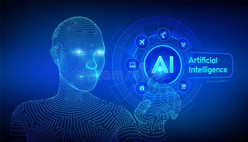 ai Intelligenza artificiale Apprendimento automatico Mano femminile del cyborg di Wireframed che tocca l'interfaccia digitale del royalty illustrazione gratis