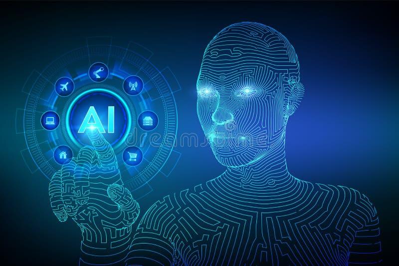 ai Intelligenza artificiale Apprendimento automatico Mano femminile del cyborg di Wireframed che tocca l'interfaccia digitale del illustrazione vettoriale