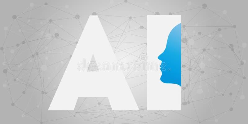 AI, künstliche Intelligenz, tief lernen und zukünftiges Technologie-Konzept-Design - Vektor-Illustration lizenzfreie abbildung