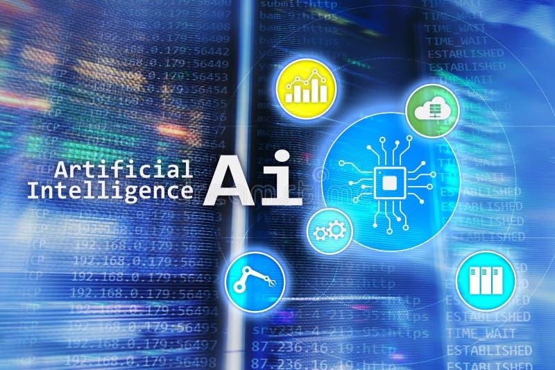 AI, konstgjord intelligens, automation och modernt informationsteknikbegrepp på den faktiska skärmen royaltyfri fotografi