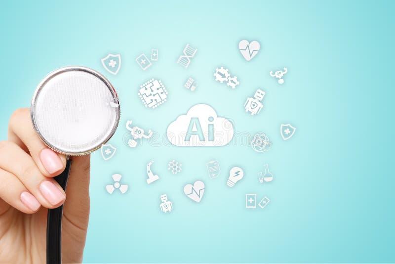 AI konstgjord intelligens, i modern medicinsk teknologi IOT och automation royaltyfria foton