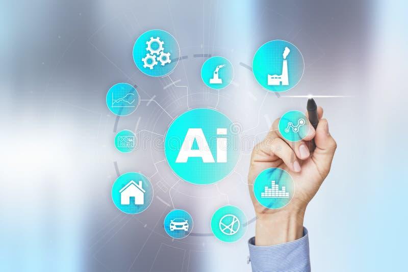 AI, konstgjord intelligens, lära för maskin, nerv- nätverk och moderna teknologibegrepp IOT och automation royaltyfri illustrationer
