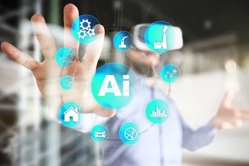 AI, konstgjord intelligens, lära för maskin, nerv- nätverk och moderna teknologibegrepp IOT och automation arkivfoto