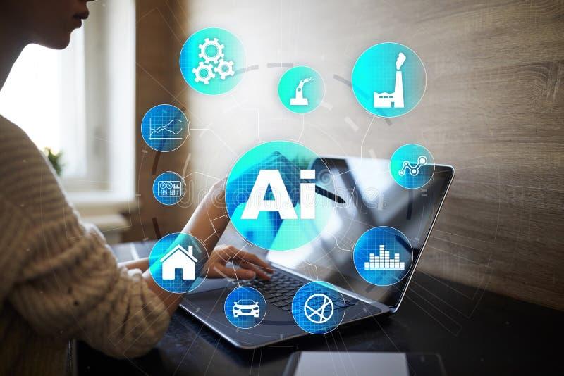 AI, konstgjord intelligens, lära för maskin, nerv- nätverk och moderna teknologibegrepp IOT och automation fotografering för bildbyråer