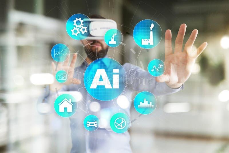 AI, konstgjord intelligens, lära för maskin, nerv- nätverk och moderna teknologibegrepp IOT och automation royaltyfria foton