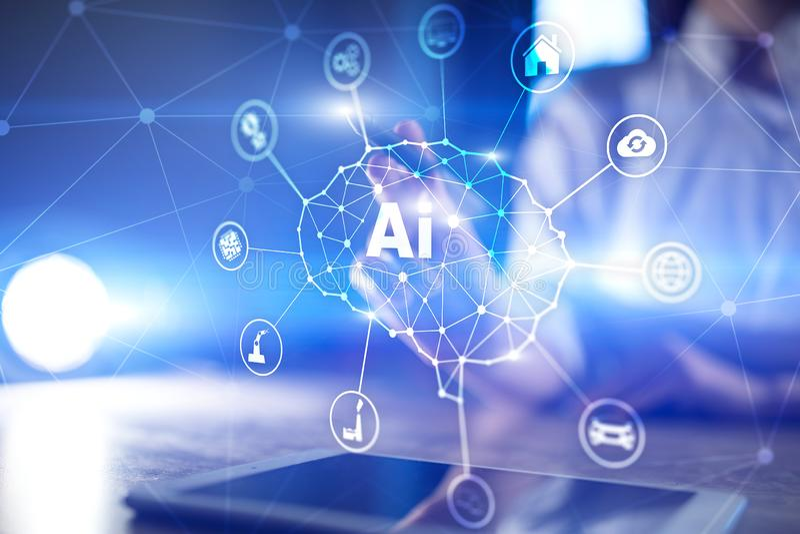 AI - Konstgjord intelligens, smart teknologi och innovation i branschaff?r och livbegrepp p? den faktiska sk?rmen royaltyfria bilder