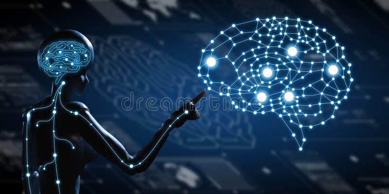 AI konstgjord intelligens som är begreppsmässig av nästa generationtechno stock illustrationer
