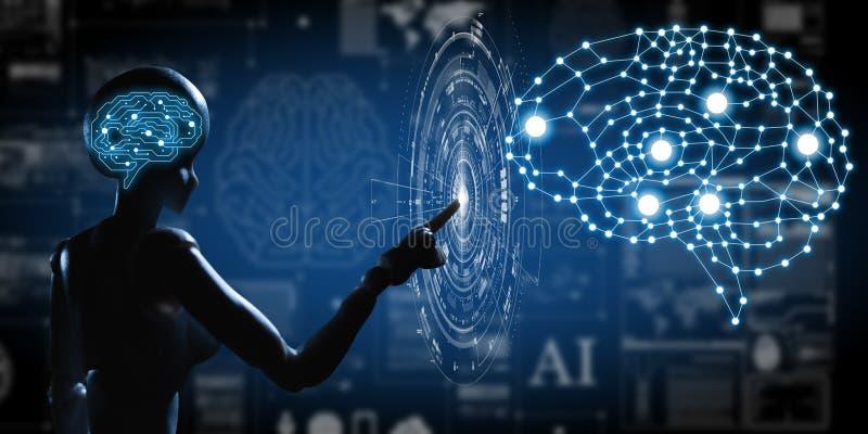 AI konstgjord intelligens som är begreppsmässig av nästa generationtechno royaltyfri bild