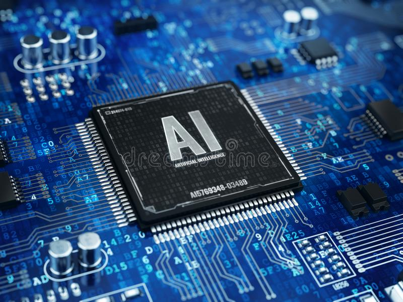 AI, Konzept der künstlichen Intelligenz - Computer-Chip-Mikroprozessor mit AI-Zeichen und binär Code vektor abbildung