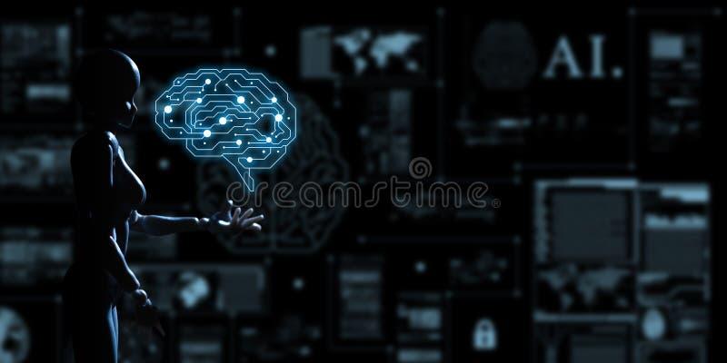 AI, Kunstmatige intelligentie conceptueel van volgende generatietechno royalty-vrije illustratie