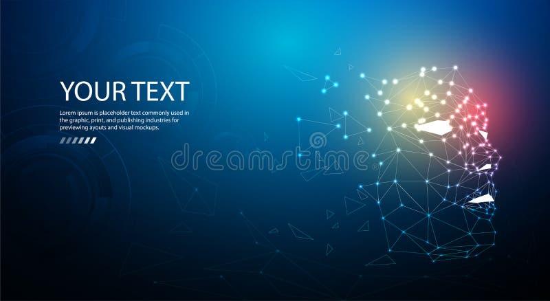 Ai of Kunstmatige intelligentie De achtergrond van het technologieweb Virtueel concept stock illustratie