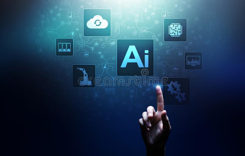 AI Kunstmatige intelligentie, Machine lerend, Grote gegevensanalyse en automatiseringstechnologie in zaken royalty-vrije illustratie