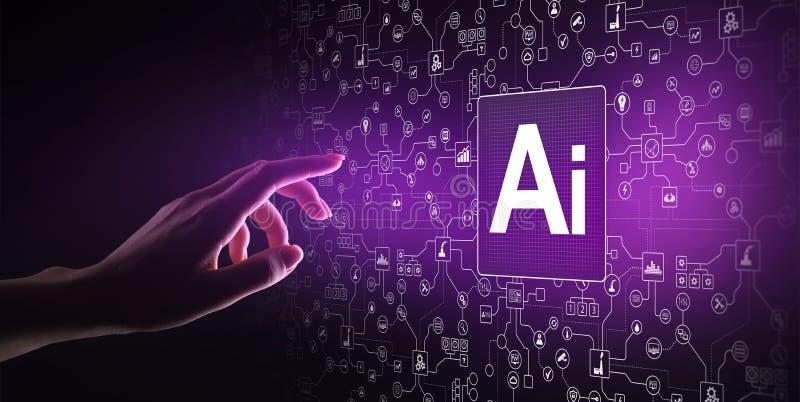 AI Kunstmatige intelligentie, Machine lerend, Grote gegevensanalyse en automatiseringstechnologie in zaken stock fotografie