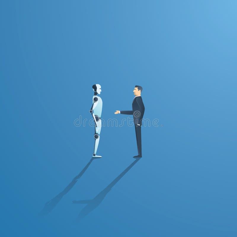 Ai of kunstmatige intelligentie vectorconcept met ai robothanddruk met mens Symbool van toekomstige samenwerking stock illustratie
