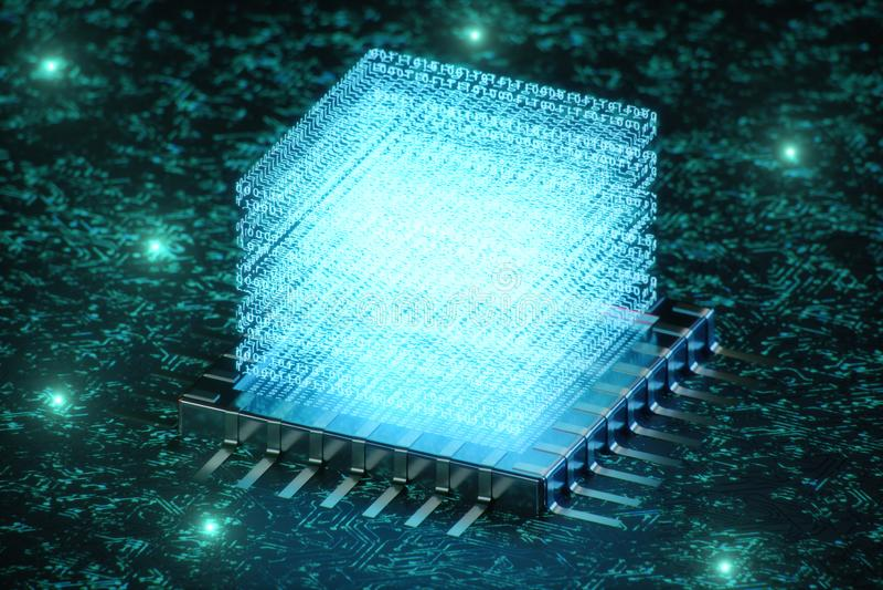 AI - kunstmatige intelligentieconcept Hologram boven cpu Machine het leren Centrale Computerbewerkers op de kring royalty-vrije illustratie