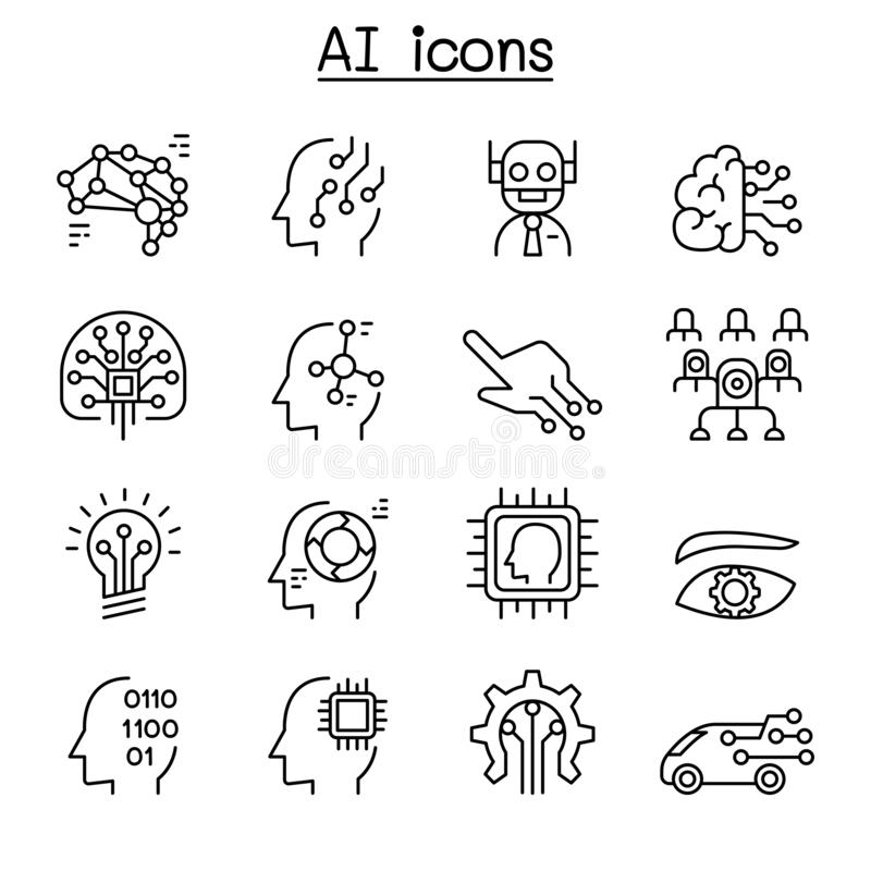 AI, Kunstmatige intelligentiepictogram in dunne lijnstijl die wordt geplaatst stock illustratie
