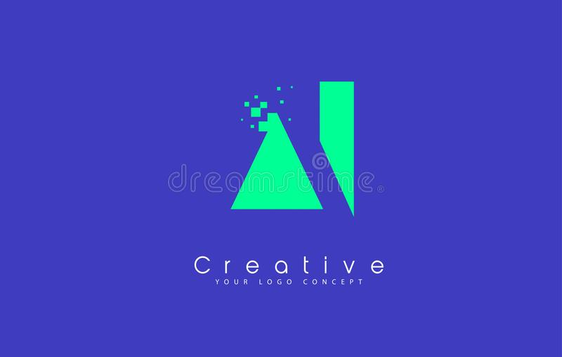 AI Letter Logo Design With Negative Space Concept royalty free illustration