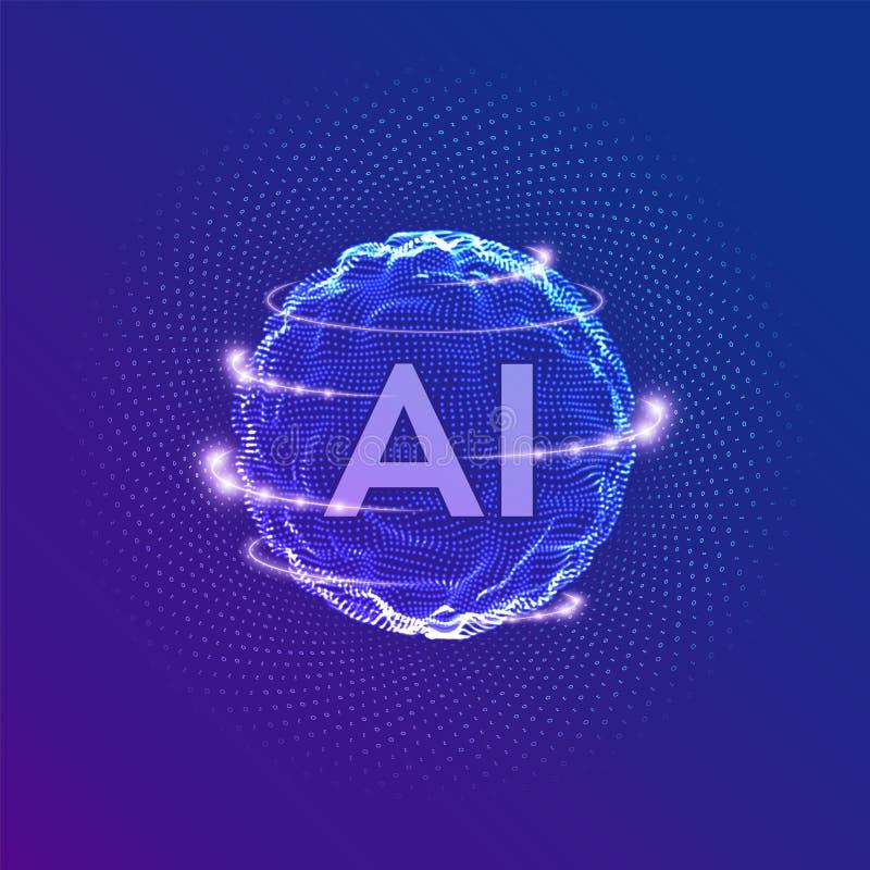 ai Logo der k?nstlichen Intelligenz K?nstliche Intelligenz-und Maschinen-Lernkonzept Bereichgitterwelle mit bin?r Code gro? stock abbildung