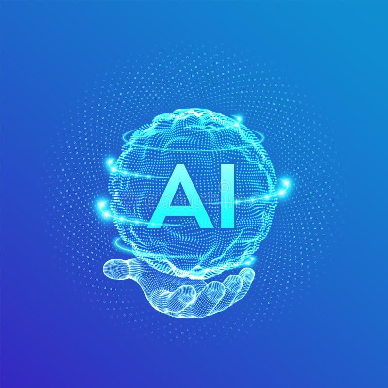ai Logotipo de la inteligencia artificial a disposici?n Concepto de la inteligencia artificial y del aprendizaje de m?quina Onda  stock de ilustración