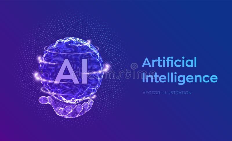 ai Logotipo de la inteligencia artificial a disposici?n Concepto de la inteligencia artificial y del aprendizaje de m?quina Onda  libre illustration
