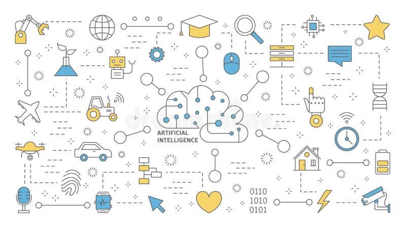 AI lub sztucznej inteligenci pojęcie futurystyczna technologia ilustracja wektor