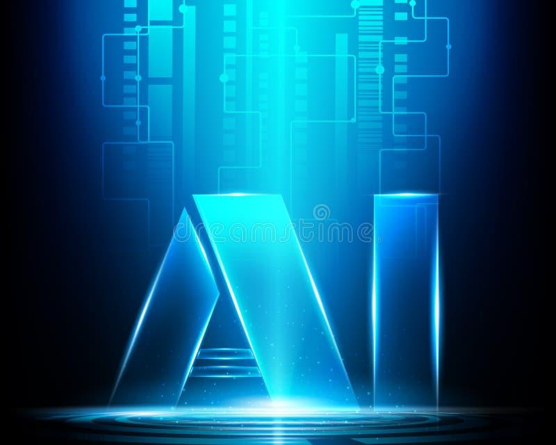 AI märker Digital konstgjord intelligens med säker teknologi royaltyfri illustrationer