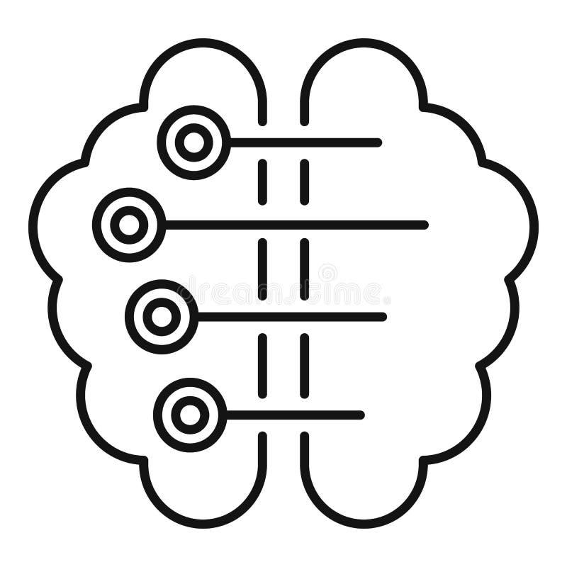 Ai mądrze móżdżkowa ikona, konturu styl ilustracja wektor