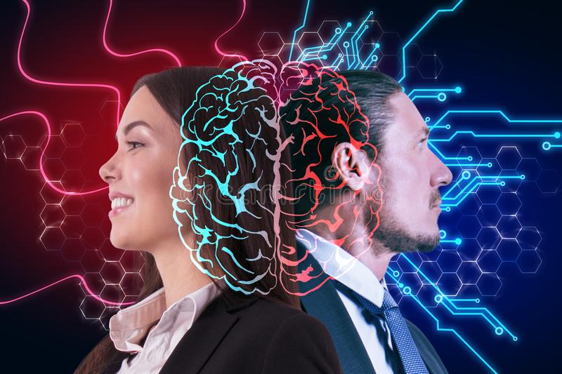 AI and machine learning concept. E portrait of happy businessman and women with digital brain. AI and machine learning concept. Double exposure stock image