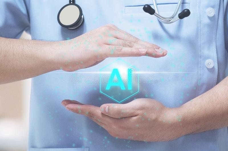 AI medical background concept. Technology, digital, science, futuristic, abstract, artificial, computer, intelligence, information, network, brain, business stock photography