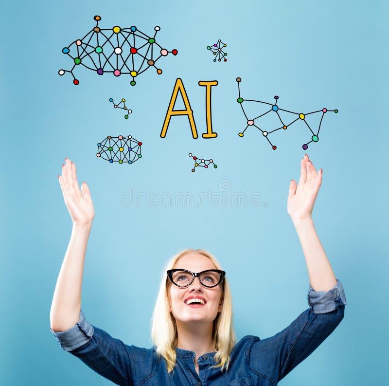 AI met jonge vrouw royalty-vrije stock afbeelding