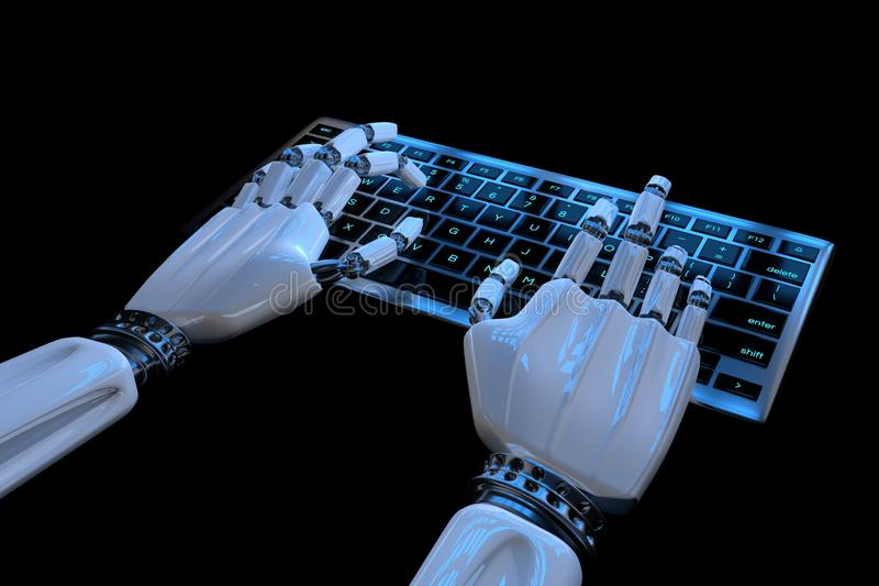 Ai mind Robot cyborg hand using computer. Hands of Robotic typing on keyboard. 3d render realistic illustration royalty free illustration