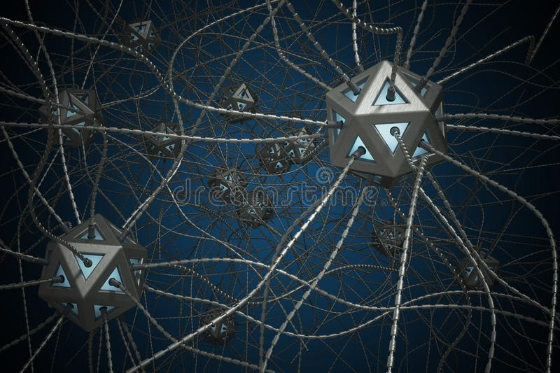 AI and nano technology concept. 3D rendered illustration of artificial neural network.  vector illustration